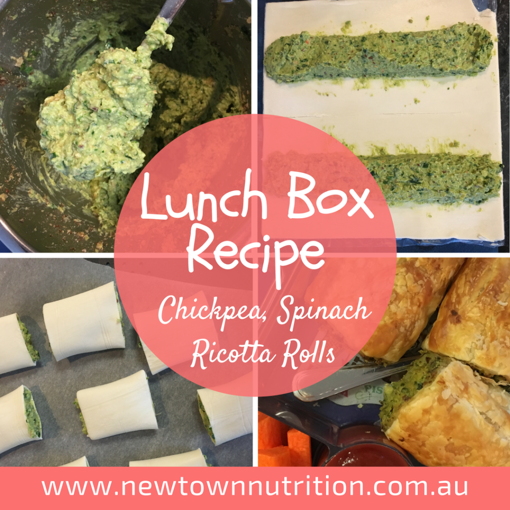 Lunchbox recipe: Chickpea, Spinach & Ricota Rolls. Perfect for kids