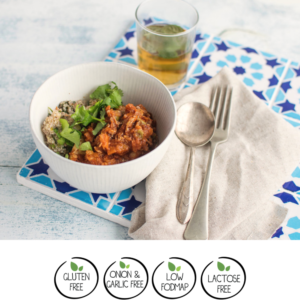 Moroccan Chicken with Quinoa, Green Olives, Tomato & Lemon. We Feed You Low FODMAPs Meal Delivery review